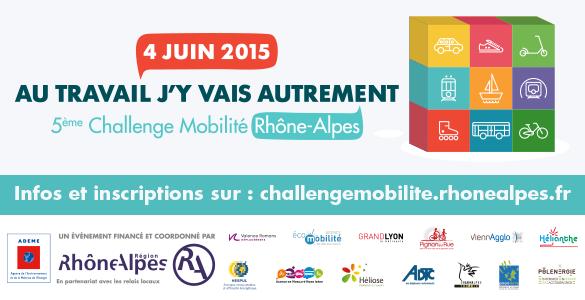 """4 juin 2015, C'est parti pour le 5ème Challenge Mobilité Rhône-Alpes !!! Relevez le défi : """"Au travail j'y vais autrement !"""""""